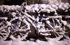 Too cold for pedaling: Wet snow covers a bicycle in Hannover, Germany. Photo: Julian Stratenschulte, AFP/Getty Images / SF