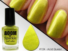Acid Queen (124) - Yellow Green Nail Polish - Chartreuse Lime Nailpolish Color by Boom Sparkle