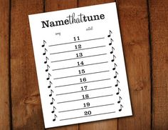 Name that Tune Printable Party Game Instant by LaurEvansDesign