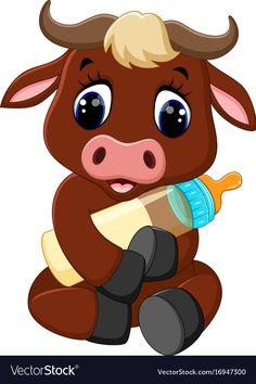 Illustration of illustration of cute baby bull cartoon vector art, clipart and stock vectors. Cartoon Cartoon, Cartoon Images, Cartoon Drawings, Baby Farm Animals, Baby Cows, Cute Animals, Cartoon Baby Animals, Clipart Baby, Baby Animals