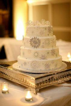 white and silver snowflake cake | photography Luke Walker and Alisha Clark