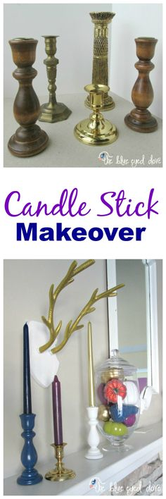 An easy makeover for some old candle sticks! theblueeyeddove.com