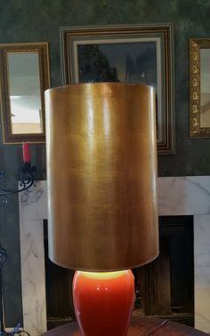Giant Mid Century Gold Color Drum Lamp Shade Two Feet Tall by GladStoneatHome on Etsy