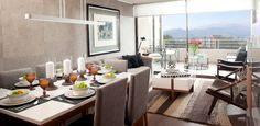 gray dining room with living room view  sala comedor