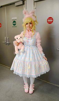 ☮JAPANESE STREET FASHiON☮••• sweet lolita ~ Angelic Pretty ~ rabbit ears ~ striped socks ~ teddy bear purse ~ wig ~ pastel ~ outfit ~ coordinate ~ cute ~ kawaii