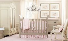 Loving this furniture color, so classy... nix the chandelier right over the crib...
