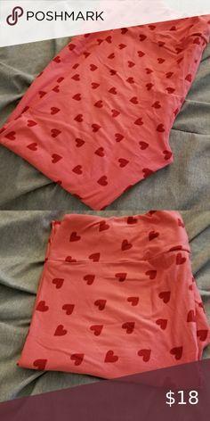 PLUS Valentines Day Pink Heart Leggings Fuschia Buttery Soft Curvy 10-18 TC