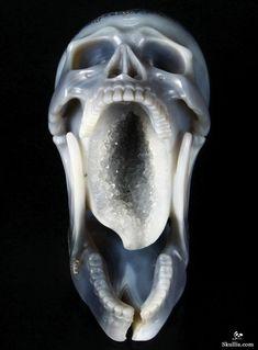 Agate Geode Crystal Skull Sculpture