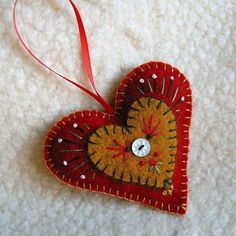 Red and brown felt heart ornament Scandinavian Christmas Ornaments, Felt Christmas Ornaments, Christmas Crafts, Christmas Decorations, Swedish Christmas, Christmas Tree, Felt Ornaments Patterns, Felt Patterns, Heart Crafts