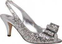 Rosina – Silver  Sizes: 10 / 10.5 / 11 / 12 / 13  This elegant party peep toe slingback from J. Renee features a chic oversized bow on the vamp, an elasticized strap, and a 3 inch heel. Available in Black Glitter , Gold Glitter , Silver Glitter , Multi Glitter , Navy Glitter.