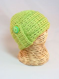 RTS Baby Cloche hat 0-3 mo apple green swirly button knit-look crochet baby cap beanie flattering infant - adult by hamburke on Etsy