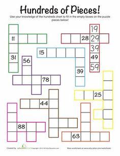 Worksheets: Hundreds Chart Challenge
