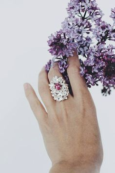 Lilac blossom ring with pink topaz  sterling silver by TheManerovs, €175.00