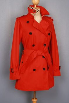 STUNNING pre-owned Burberry trench coat, refurbished to a modern look, size S, $319 This is a 100% genuine Burberry Trench Coat, customized by our master tailor to a Modern Short Trench Coat. Including the Burberry check to the back on the collar which looks fantastic when collar is turned up. More vintage Burberry coats in variable sizes and colors available in our shop. Use code Pinterest10 for a 10% discount on this coat at check out.