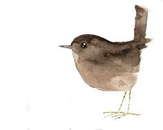 Watercolour bird - Looks like a sparrow or wren. I love this! I'd love it even more if it was a robin red-breast like The Secret Garden