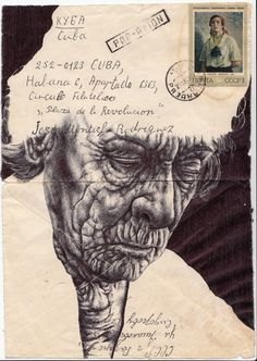 #illustration Bic Biro drawing on 1972 envelope. by mark powell, via @Behance