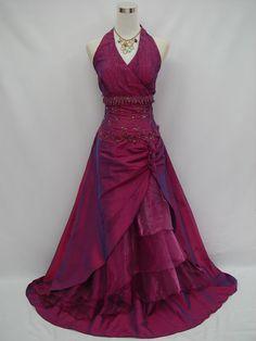 Cherlone Plus Size Purple Halterneck Ballgown Wedding Bridesmaid Dress 22-24