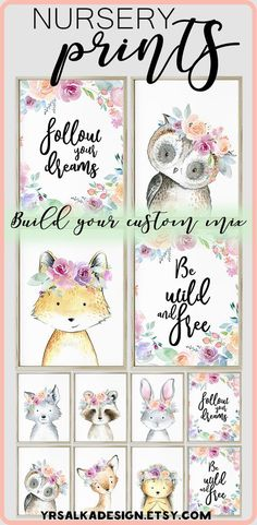 What beautiful prints for a whimical nursery! Girl woodland animals print set of 4 | Girl art pink animal nursery print | Boho woodland animal creatures Floral Forest Printable Nursery Art #instantdownload #woodlandnursery # #nurseryart #nurserydecor #ad #etsy