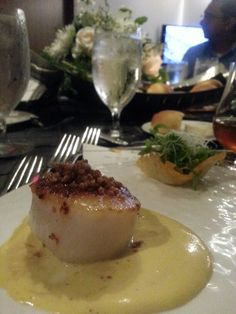 Scallops with bacon powder. #FoodTravels