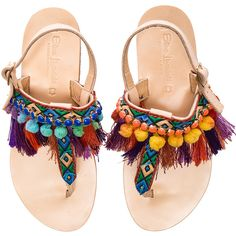 Elina Linardaki Leather Dizzy Parrot Sandals ($265) ❤ liked on Polyvore featuring shoes, sandals, flats, flat sandal, schuhe, slingback shoes, fringe flat sandals, leather slingback sandals, leather fringe sandals and slingback sandals