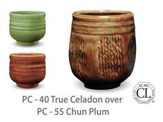 AMACO Potter's Choice layered glazes PC-55 Chun Plum and PC-40 True Celadon.