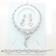 Wedding Faux Pearl Bridal Silver Color by LaCoquetaJewelry on Etsy, Jewelry on Pinterest, Jewelry Ideas