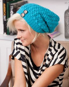 Slouchy textured hat with button accent. Perfect in every shade of Sheep(ish).