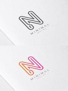 Minimal Line Initial Letter N Logo N Logo Design, Minimal Logo Design, Logo Design Template, Logo Templates, Icon Design, Letter N, Initial Letters, Letter Logo, Initials Logo