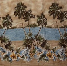 Hawaiian Shirt Palm Trees City Beach Island Size Large Men's Croft & Barrow Tan #CroftBarrow #Hawaiian