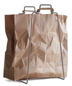 Helsinki paper bag holder in silver. Design by Helena Mattila. Made in Finland.