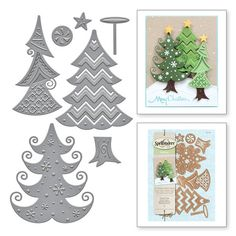 S5-238 Shapeabilities Stylized Trees Etched Dies Christmas Holiday