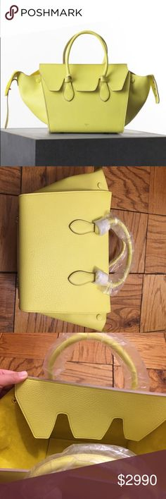 Celine Small Tie Bag in Crisped Calfskin Brand new with tag and original wrappings on! Bought it but never used. Was $3500 plus 9% tax, so it was close to $3800. This is a GORGEOUS summer color - neon yellow, it is super rare and limited. NO TRADE unfortunately :( Celine Bags Totes
