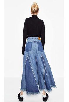Sheinstreet New Stylish Fashion Loose Wide Leg Tassels Trousers Bottoms BLUE Long Sleeve Mini Dress, Maxi Dress With Sleeves, Estilo Jeans, Mode Jeans, Denim Ideas, Backless Maxi Dresses, Recycled Denim, Denim Outfit, Ladies Dress Design