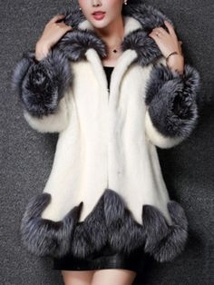 faux fur coat women white gray with fur hat fur jacket mink luxury women long coat Imitation fur jacket women coat plus size *~* Locate this beautiful piece simply by clicking the image White Faux Fur Jacket, White Fur Coat, Fox Fur Coat, Fur Coats, Jacket Outfit, Fur Casual, Long Skirt Fashion, Long Skirts For Women, Faux Fur Collar