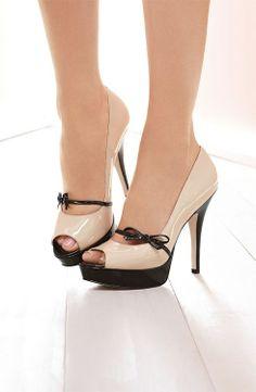 1646bbca5bc Lace Tipped Black and Cream Stiletto Pump Ladies Accessories Womens Fashion