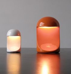 Marcello Cuneo; Glazed Ceramic Table Lamps for Gabianelli, 1966.