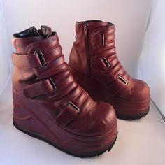 90s Burgundy Cyber Platform Boots Club Kid Chunky Futuristic Mega Platform Monster Rave Industrial Goth Wedge 90s Grunge Flatform