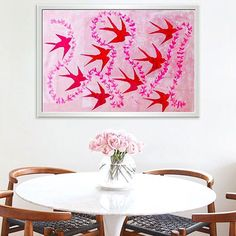Birds holding a flower garland ...flying in a pink sky. (Framed behind glass) This painting took me about 3-4 days to complete.........thinking about doing one in blues. 🤔 #abstractart #arte #pintura #inspiration #birds #pinkeverything #abstracto #artwork #nurserydecor #officedecor #diningroomdecor #decor