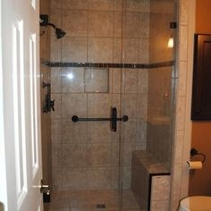 Bathroom Remodel with Normandy Shower Tile with Cinnamon Glass Accent by Hatchett Design/Remodel