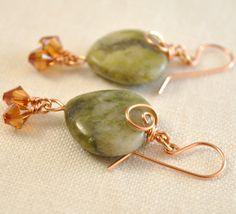 Connemara marble, marble, Irish Lassie Shop, etsy, Celtic, wire earring, earring, beads, #Connemara marble
