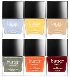 butter LONDON High Tea nail lacquer collection for Spring  2015 -  ◾Ruby Murray, Opaque, deep berry creme. ◾High Tea, Opaque, nude creme. ◾Sloane Ranger,  Olive, khaki creme nail lacquer infused with silver shimmer. ◾Cheers! Opaque, marigold yellow creme ◾Kip, Opaque, skycloud shimmer. ◾Tiddly, Opaque, melon creme