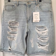 Forever 21 Boyfriend Bermuda Shorts High-waisted light-wash denim. Boyfriend fit which is not meant to hug the body (loose-fitting); has no stretch.  Brand new, never worn. True to size. Forever 21 Shorts Bermudas