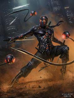 Shamash Ninja, advanced – Galaxy Saga character concept by Vlad Marica Arte Ninja, Ninja Kunst, Ninja Art, Arte Robot, Foto Fantasy, Sci Fi Fantasy, Fantasy Armor, Dark Fantasy, Arte Cyberpunk