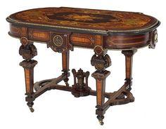 Exceptional Renaissance Revival Rosewood Victorian Center Table  c.1870