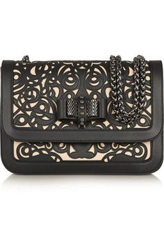 Christian Louboutin Sweet Charity laser-cut leather shoulder bag. Pretty--would be even prettier in a pastel pink!