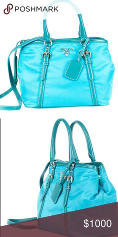 9cb68a05c029 ✨NWT PRADA Turquoise Satchel with Strap✨ Authentic and Brand New Prada  Turquoise Satchel With Strap. More live pictures to follow with details  soon.