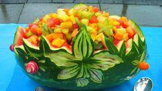 Trendy Ideas For Fruit Bowl Display Centerpieces Watermelon Carving Watermelon Fruit Bowls, Watermelon Basket, Watermelon Carving, Fruit Salads, Jello Salads, Fruit Kabobs, Fruits Decoration, Fruit Sculptures, Luau Food