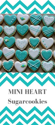 Mini heart sugar cookies for weddings, showers, birthdays and other events. Available in any color. Mini Cookies, Fancy Cookies, Iced Cookies, Cute Cookies, Sugar Cookie Icing, Cookie Frosting, Royal Icing Cookies, Sugar Cookies, Valentines Day Cookies