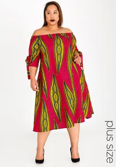 Fit-and-flare dress. Off the shoulder. Our model wears a size 38 and is 177 cm tall. African Dresses Plus Size, Short African Dresses, Latest African Fashion Dresses, African Print Fashion, Africa Fashion, Plus Size Dresses, African Clothes, African Fashion Traditional, African Attire
