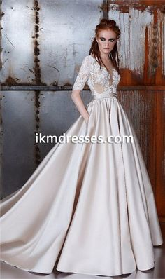 Half+Sleeves+Sheer+Neck+A-line+Wedding+Dresses+Covered+Buttons+Back+Lace+Applique+Court+Train+Champagne+Wedding+Dress+Bride